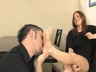 Redhead foot and shoe worship