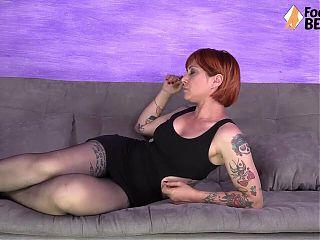 Teared pantyhose feet worship by a sexy redhead milf