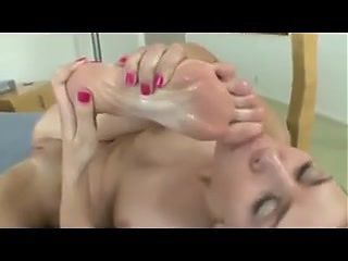 licking cum off toes compilation