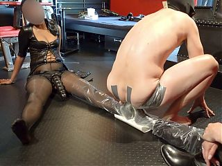 Strapon gangbang with 3 mistresses part 5, pee party