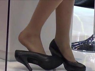 hostess shoeplay feet dipping nylons pantyhose